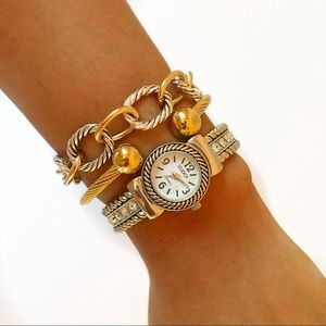 Jewelry - Gold-toned Twisted Cable Bracelet Cuff w/ Balls